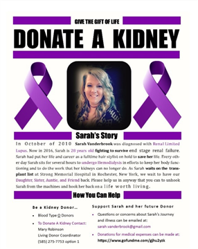Donate a Kidney for Sarah-Click on the Picture for More Information